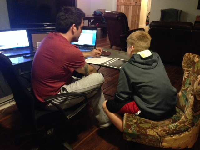 This is a typical evening at our home. Byron is showing our 14-year-old how to do algebra.