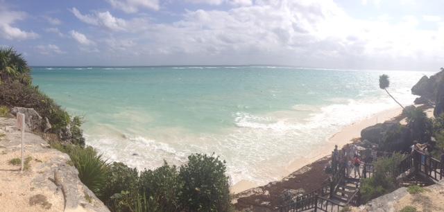 A beautiful ocean view from the Mayan Ruins at Talum